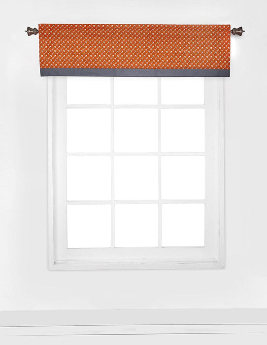 Bacati Playful Foxs Window Valance, Orange/Grey