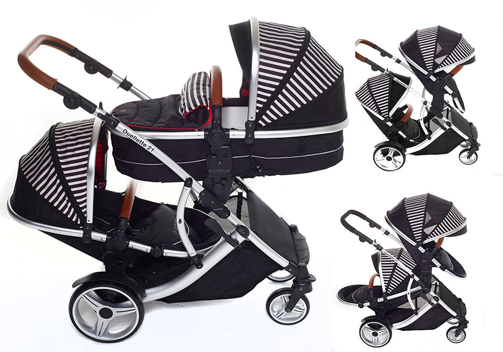 Kids Kargo Duellette 21 Bs Combi Travel System Pram Double Pushchair (Oxford Stripe)