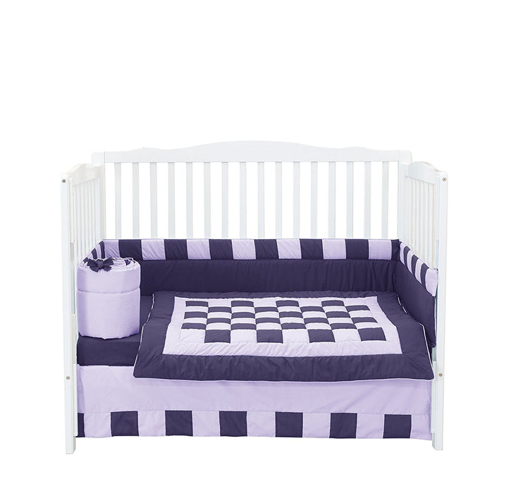Baby Doll Bedding  Patchwork Perfection Crib Bedding Set, Plum/Lavender
