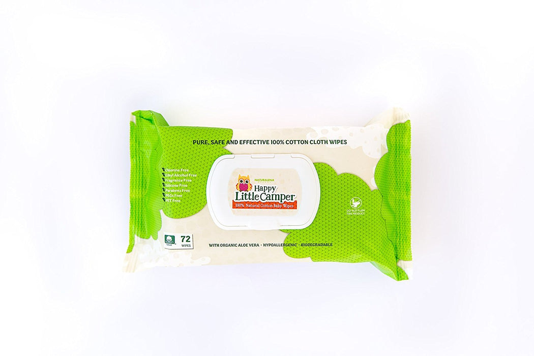 Happy Little Camper Baby Wipes, Natural, All-cotton With Organic Aloe, Sensitive Skin, 72 Count