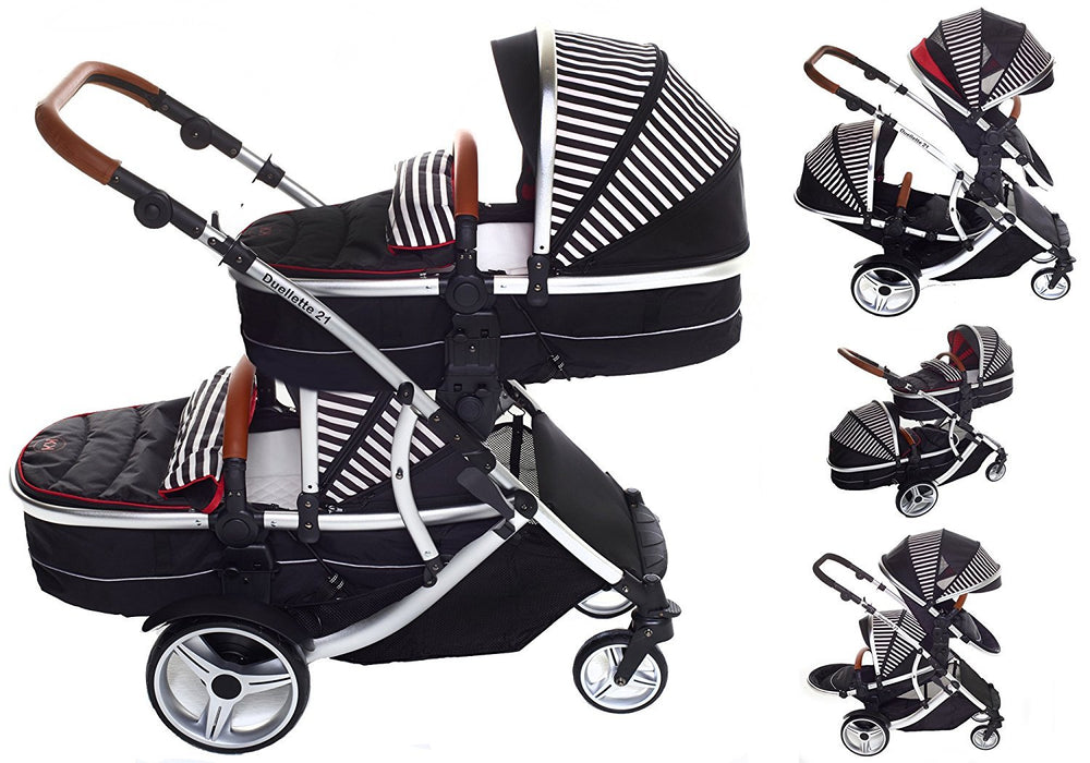 Kids Kargo Duellette 21 Combi Travel System Pram Double Pushchair (Oxford Stripe)