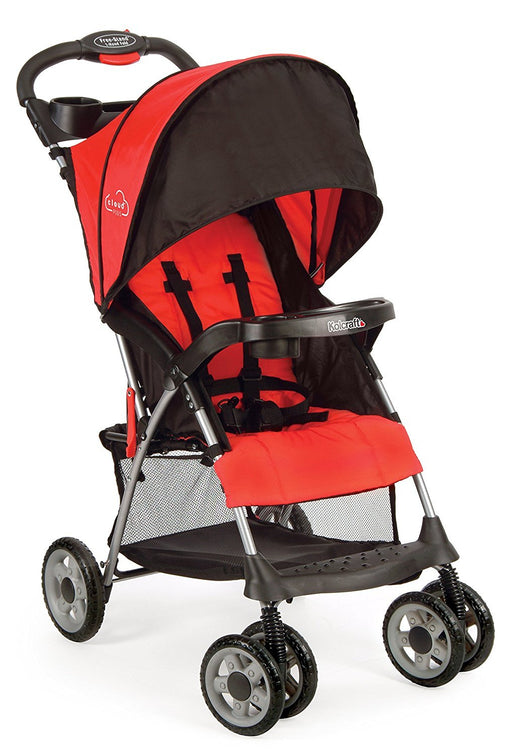 Kolcraft Cloud Plus Lightweight Stroller with 5-Point Safety System and Multi-Positon Reclining Seat , Fire Red