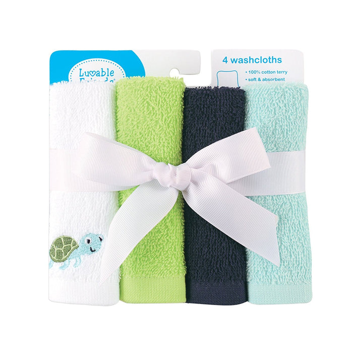 Luvable Friends Super-Soft Washcloths, Blue Turtle, 4 Count