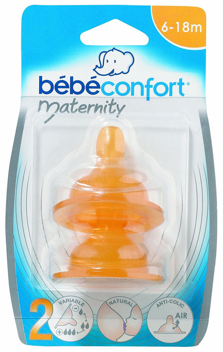 Bebeconfort 30000026 2 Maternity Latex 3 Flow Rate Teats Size 2