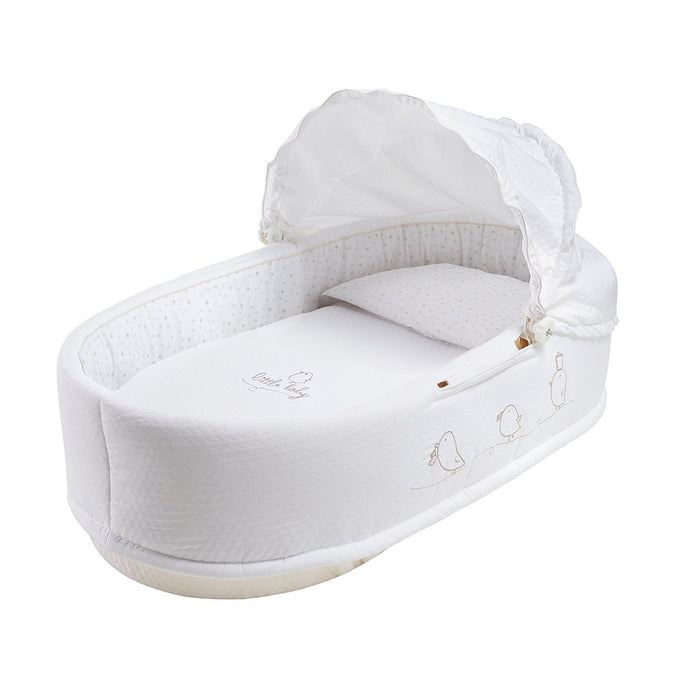 PETIT PRAIA Piu Piu Carrycot with Hat (80 x 36 x 23 cm, White/Beige)