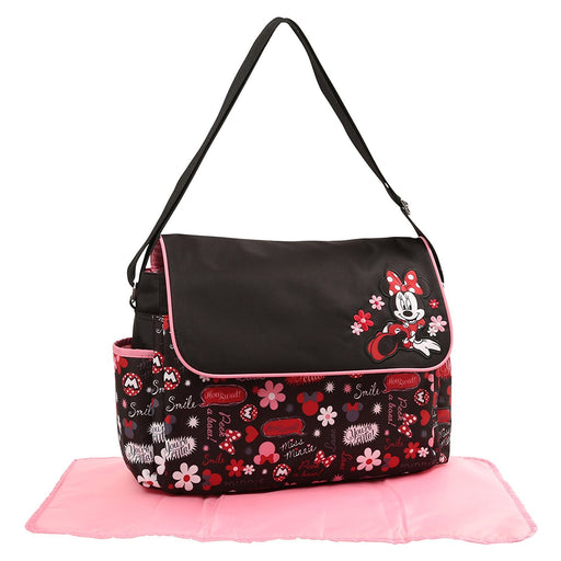 Disney Minnie Mouse Floral Graffiti Print Diaper Bag with Flap