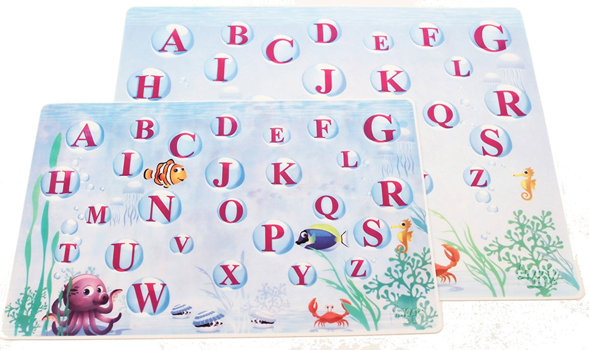 Smarty Pads Reusable Silicone Placemats with Slightly Embossed Alphabets, Under the Sea/Abc