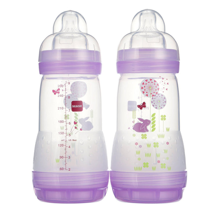MAM Anti-Colic Bottle, Girl,  9 Ounces,  2-Count