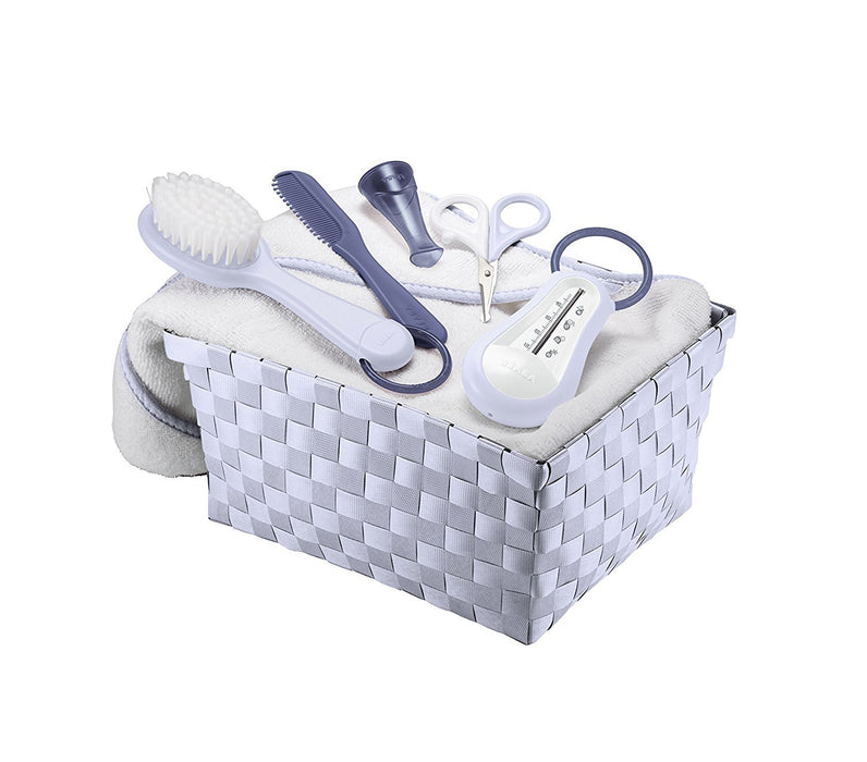 BEABA Personal Care Basket includes Thermometer/Scissors/Comb/Brush and a Cotton Towel