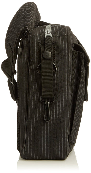 Diaper Dude Pinstripe Messenger II Bag (Black)