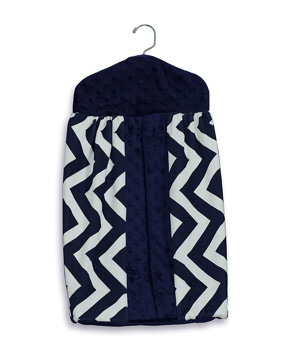 Baby Doll Bedding  Minky Chevron Diaper Stacker, Navy