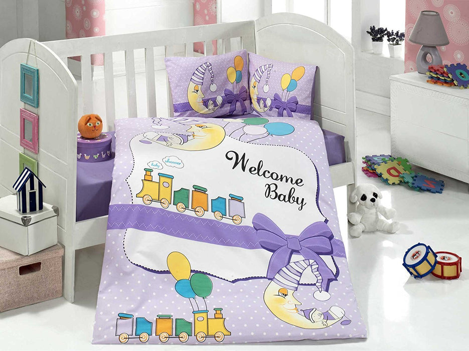 Aran Clasy Train Ranforce Baby Duvet Cover Set (100 x 150 cm, Multi Color)