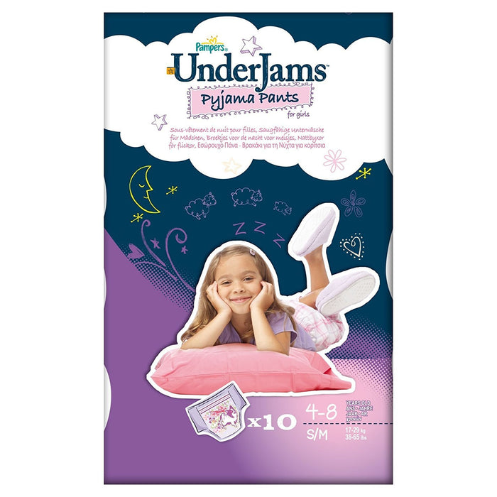 Pampers UnderJams Girls 10 Pyjama Pants - Size 7 (Small/Medium), 4 Packages of 10