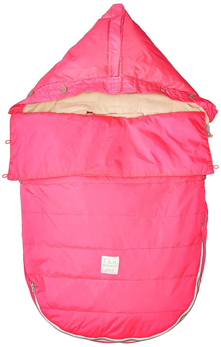 7AM Enfant Bee Pod Baby Bunting Bag for Strollers and Car-Seats with Removable Back Panel, Neon Pink, Small/Medium