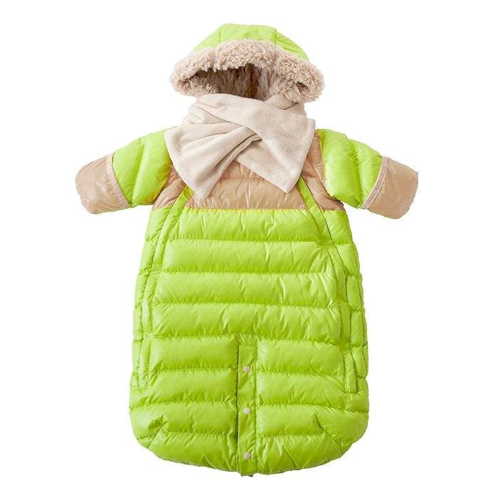 7AM Enfant Doudoune One piece Infant Snowsuit Bunting, Neon Lime/Beige, Large