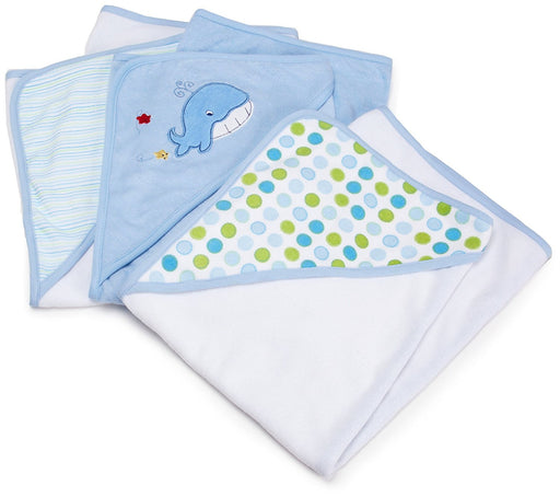 Spasilk 3 pack Soft Terry Hooded Towel Set, Blue