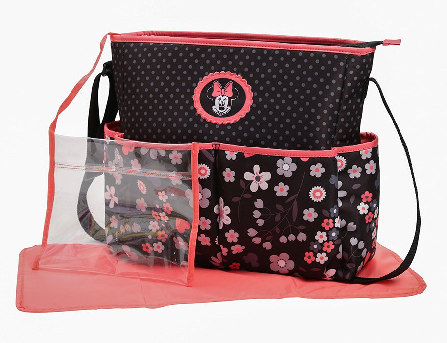 Disney Minnie Mouse Hearts and Flowers Diaper Bag with Adjustable Straps