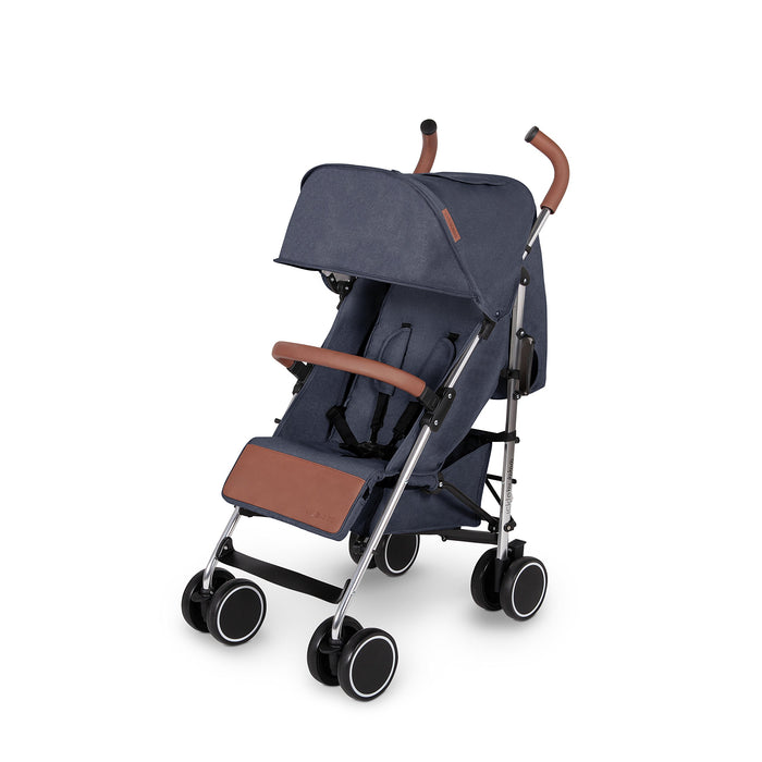 Ickle Bubba Baby Strollers | Lightweight Stroller Pushchair | Compact Fold Technology for Easy Transport and Storage | UPF 50+ Extendable Hood and Rain Cover | Discovery, Denim Blue/Silver Denim Blue on Silver Frame