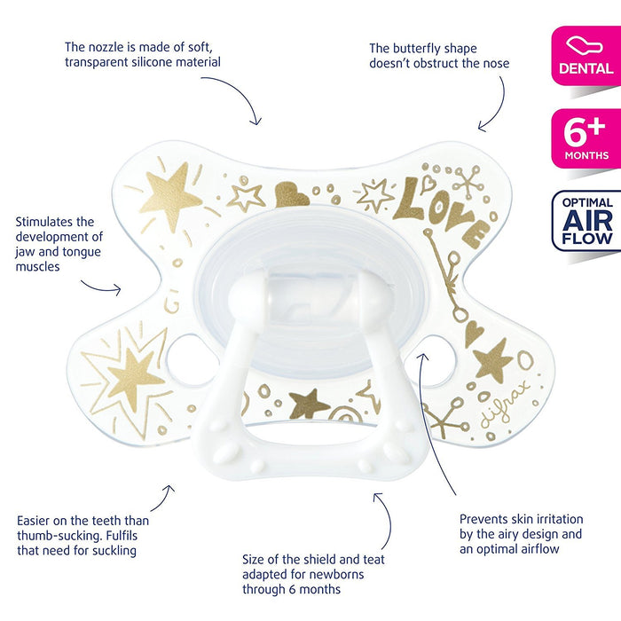 Difrax DIFR3 Soother Dental Pacifier, 6 Plus Months, Gold