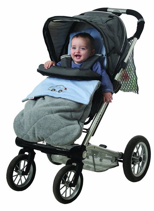 Universal Baby Stroller Cosytoes Liner Buggy Padded Luxury Footmuff -(Grey with Blue Car)