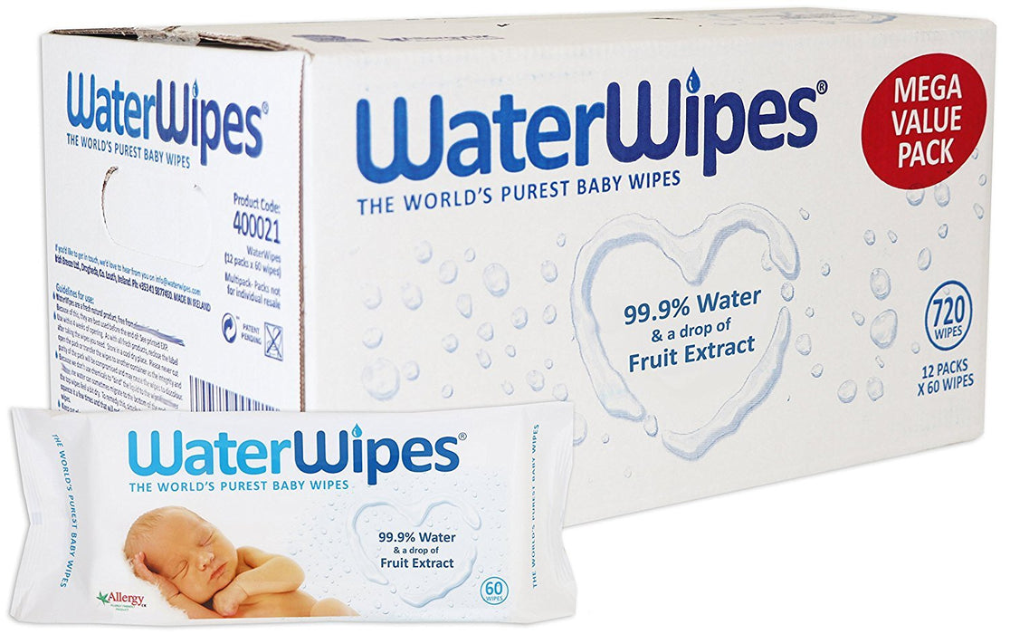 WaterWipes Chemical Free Baby Wipes, 12 Packs x 60 Wipes (720 Wipes)
