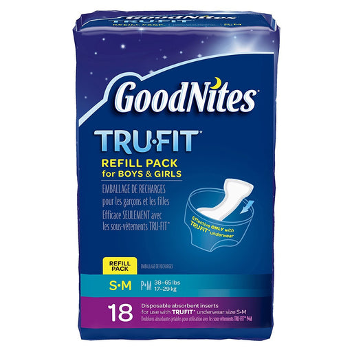 GoodNites TRU-FIT Disposable Absorbent Inserts for Boys & Girls, Refill Pack, Size Small/Medium, 18 ct (Pack of 3)