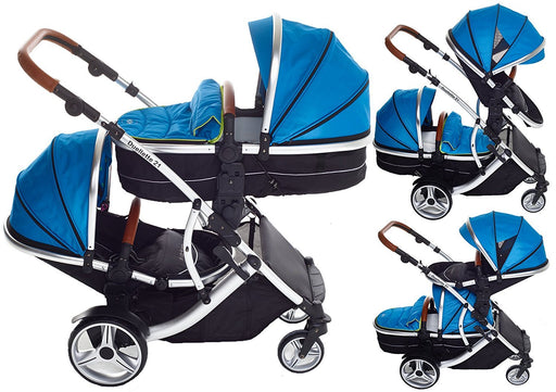 Kids Kargo Duellette 21 BS Combi Double Pushchair Twin Tandem Complete Carrycot (Teal Mist)