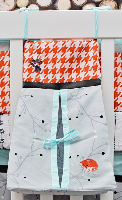 DK Leigh Houndstooth Fox Diaper Stacker, Grey/Orange/Mint