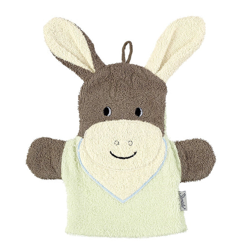 Sterntaler 96384 2 in 1 Wash Mitt Hand Puppet Donkey Design Made of Terry Cloth