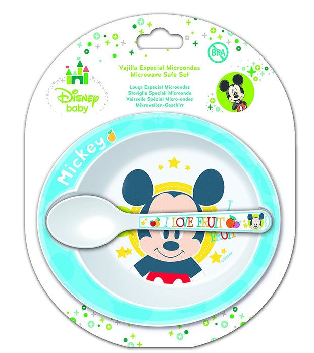 Disney Mickey Mouse Microwavable Safe Bowl and Spoon Set