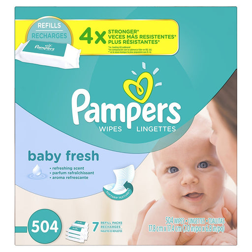 Pampers Baby Wipes Baby Fresh 7X Refill, 504 Diaper Wipes