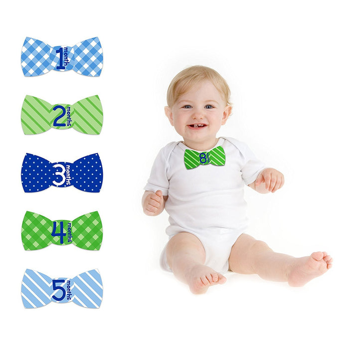 Blue Tiny Ideas First Year Monthly Milestone Bowtie Photo Sharing Baby Belly Stickers 1 12 Months