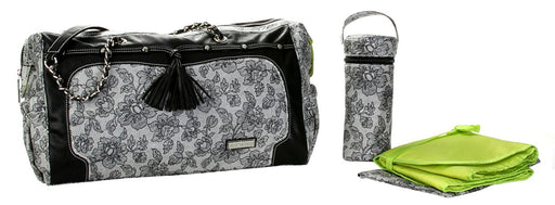Kalencom Fashion Diaper Bag, Changing Bag, Nappy Bag, Mommy Bag (Pippen Lacey Black and White)