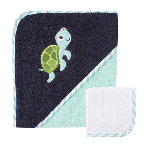 Luvable Friends Hooded Towel and Washcloth, Turtle