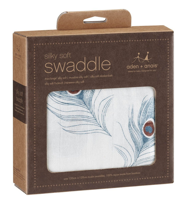 aden + anais Silky Soft Swaddle (Mela Peacock Feather, Single)
