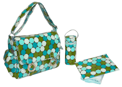 Kalencom Fashion Diaper Bag, Changing Bag, Nappy Bag, Mommy Bag, Coated Double Buckle Bag (Fun Dots Seaside)