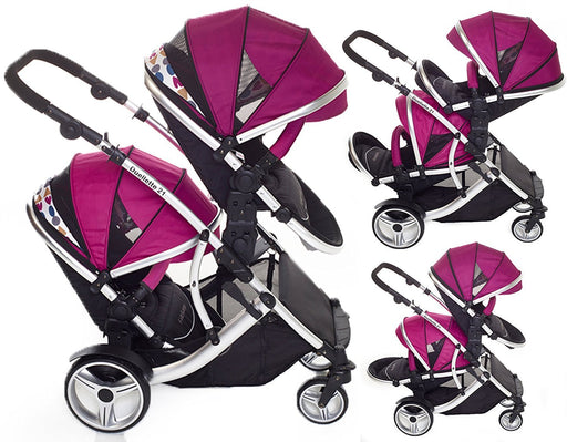 Duellette 21 BS Twin Double Pushchair Stroller Buggy (Raspberry) Brand New Colour Range!