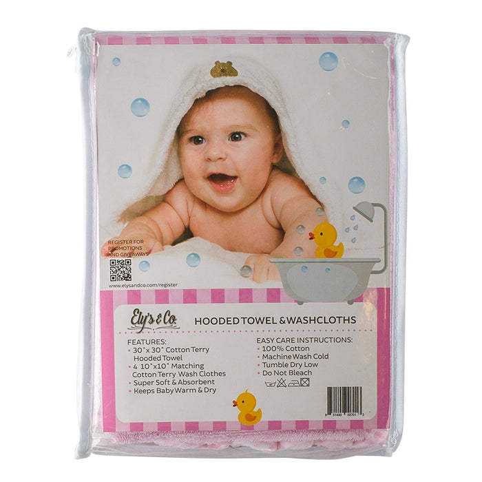 Hooded Towel - 100% Cotton Baby Hooded Terry Bath Towel with 4 Washcloths by Ely's & Co. (Pink)