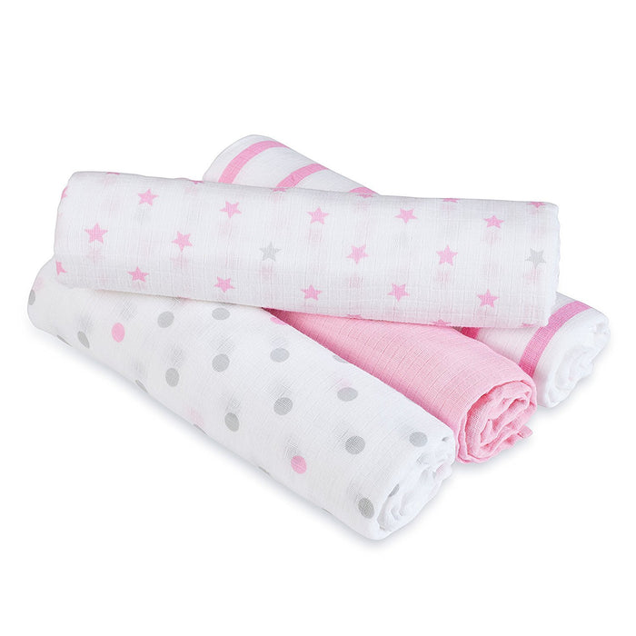 aden by aden + anais muslin swaddle blanket 4-pack- darling (112 x 112cm)