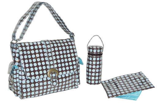 Kalencom Fashion Diaper Bag, Changing Bag, Nappy Bag, Mommy Bag, Laminated Buckle Bag (Heavenly Dots Chocolate Blue)