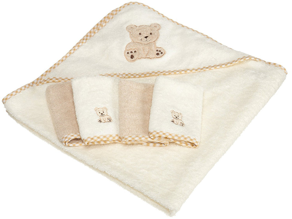 Spasilk 100% Cotton Hooded Terry Bath Towel with 4 Washcloths, Beige