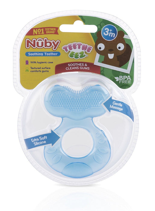 Nuby Silicone Teethe-eez Teether with Bristles, Includes Hygienic Case, Blue