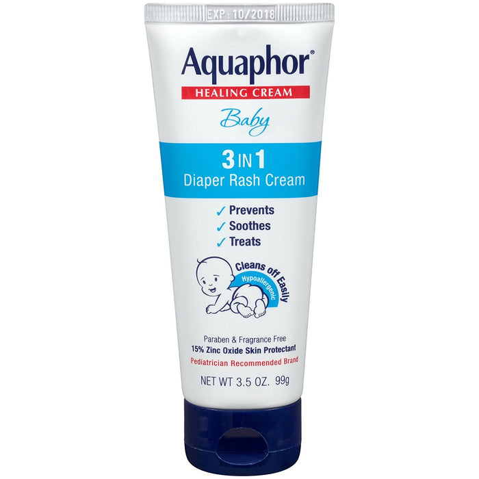 Aquaphor Baby Diaper Rash Cream 3.5 Ounce (Pack of 3)