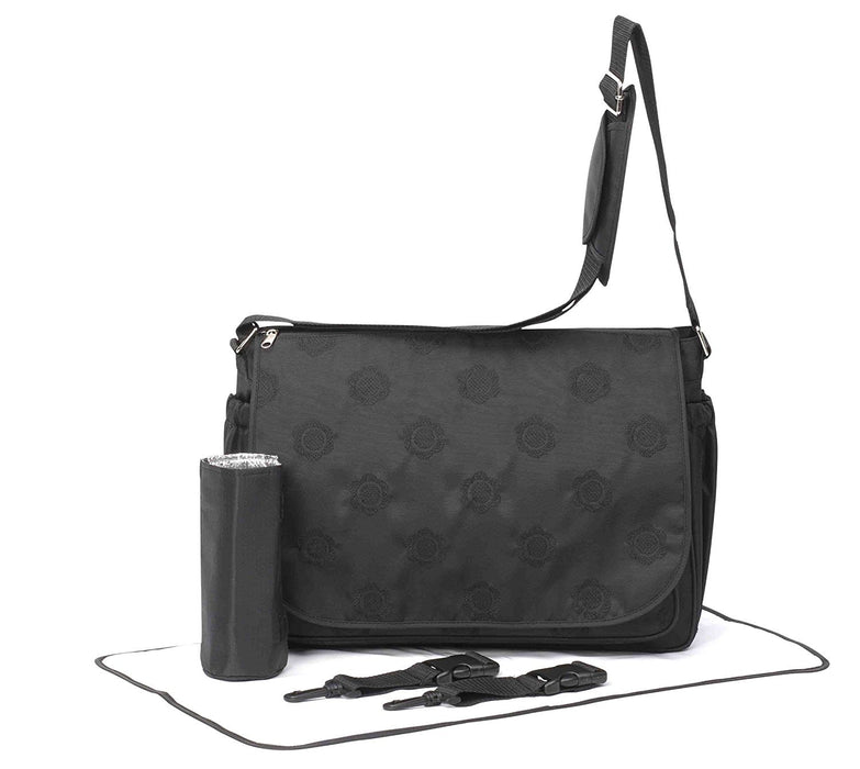 Primrose Hill Embroidered Messenger Style Baby Change Bag (Black)