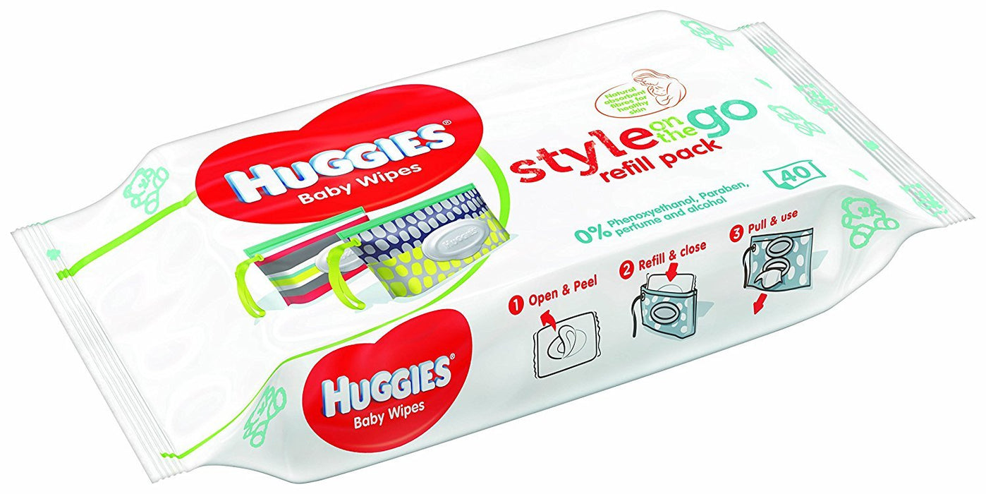 Huggies Style On The Go Refill Packs - 10 Packs (400 Wipes Total)