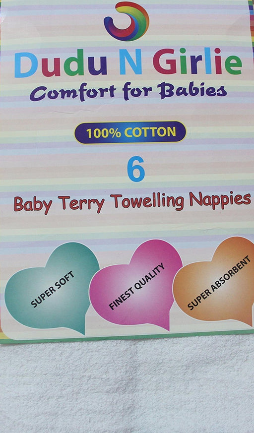 DUDU N GIRLIE Baby Terry Toweling 100% Cotton Nappies, White, 6 Piece