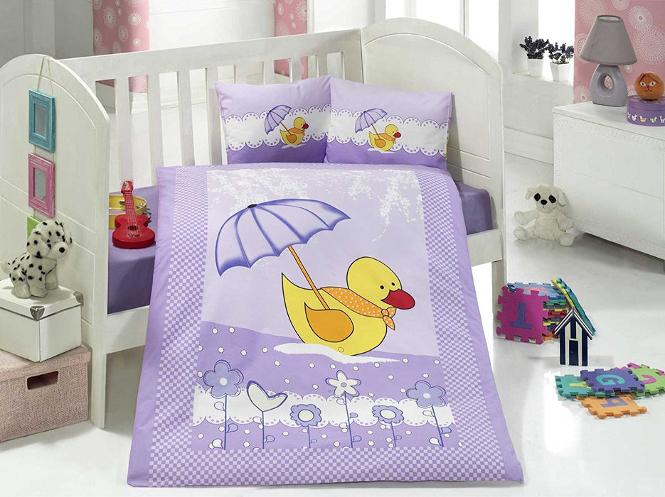 Aran Clasy Duck Ranforce Baby Duvet Cover Set (100 x 150 cm, Multi Color)