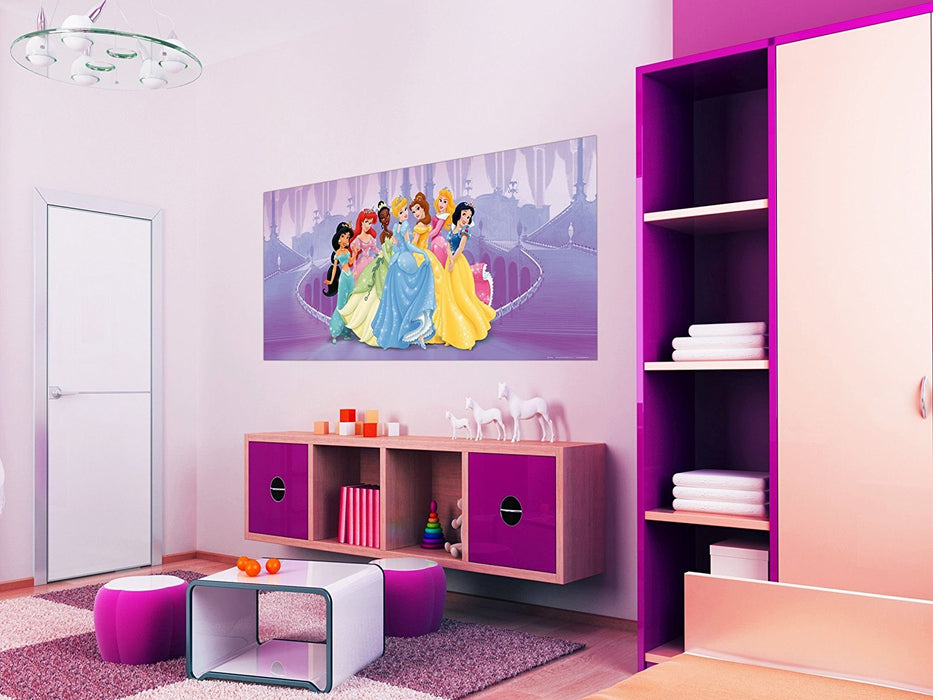 "AG Design ""Disney Princess Violet Castle"" Photo Mural Wallpaper for Children's Room, Multi-Colour, 202 x 90 cm"