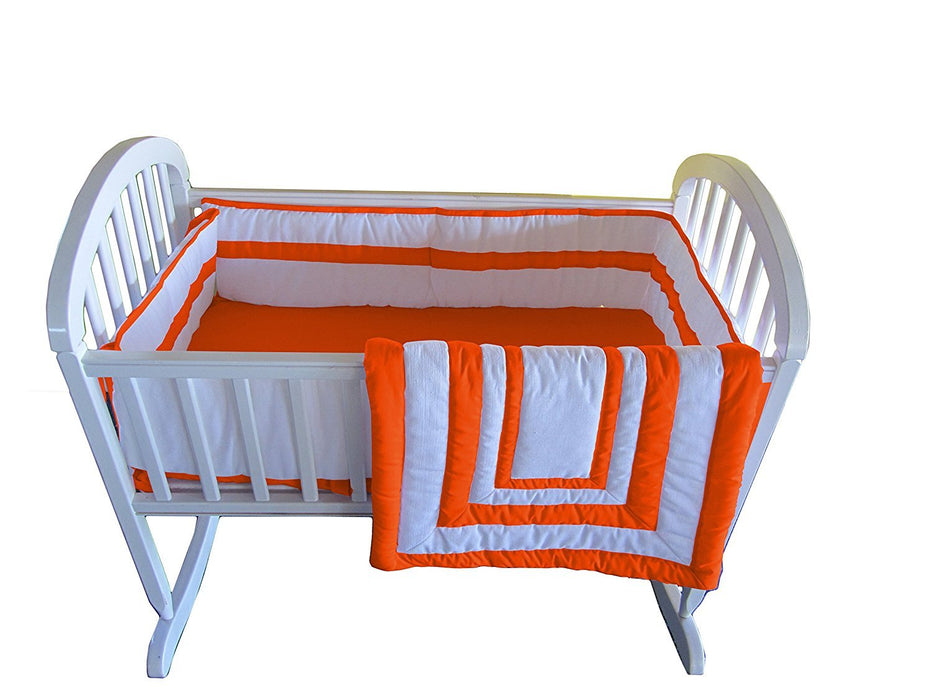 Baby Doll Bedding Modern Hotel Style Cradle Bedding Set, Orange