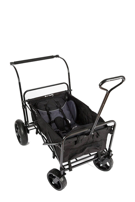 GO-GO BABYZ DOUBLE FOLDING WAGON STROLLER ASTM certified with Two Seats, Push Handle and Rear Foot Brake, black